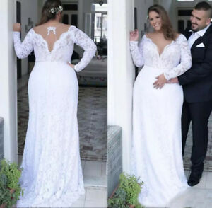 V Neck Plus Size Lace Wedding Dresses Plunging Long Sleeves Bridal