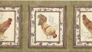 Wallpaper-Border-Waverly-Framed-Roosters-On-Tan-amp-Green