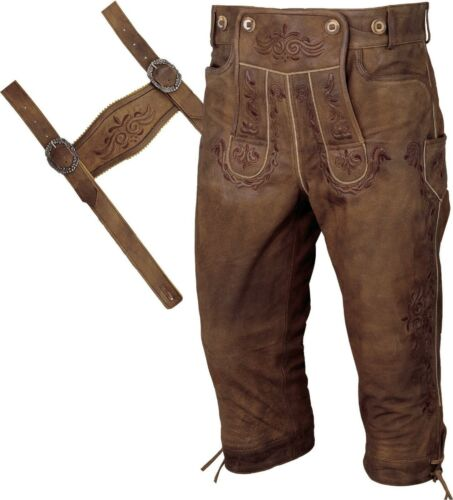 Costume Leather Pants Braces Breeches Leather Trousers Costume Pants Distressed Brown-Beige