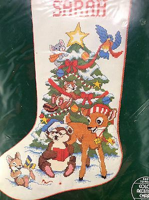 Linda K Powell Jolly Animals Christmas Stocking Kit Dimensions Counted Cross