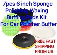 7pcs 6 Inch Sponge Polishing Waxing Buffing Pads Kit For Car Polisher Buffer