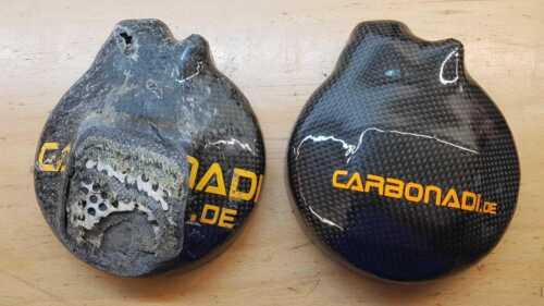 HONDA rvf400 nc35 2x CARBON FRIZIONE COPERCHIO Lima Coperchio carbone CARBONO ENGINE...