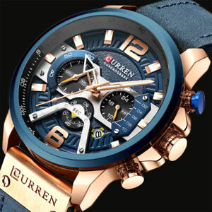 Bussiness-Herrenuhr-Armbanduhr-Analog-Quarz-Uhr-Sportuhr-Uhren-Leder-Buegel-Watch