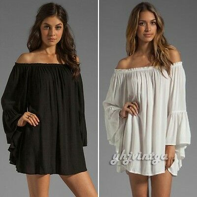 Sexy Women Off Shoulder Bell Sleeve Loose Hippie Boho Prom Club Party Mini Dress