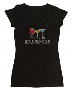 "1X Women/'s Rhinestone T-Shirt /"" Girls Night Out /"" in S L M 2X Wine 3X"