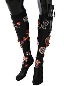 NEW $2460 DOLCE & GABBANA Socks Black Stretch Carretto Crystal Stockings s. S