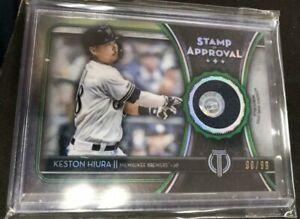 2020 Topps Tribute Keston Hiura Stamp Of Approval Jersey Relic #90/99 Brewers!