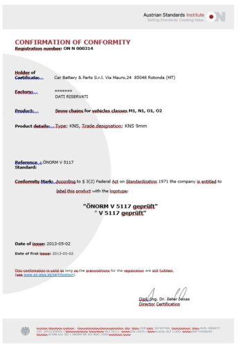 Catene da neve  9 mm  Omologate   110   PNEUMATICI 215//65R16