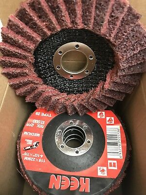 """Medium Surface Conditioning Flap Disc 4-1//2/"""" X 7//8/""""  KEEN Brite 55735 Box of 5"""