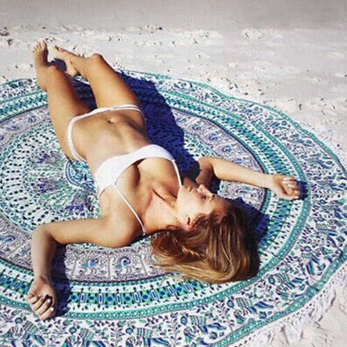 Round Tapestry Beach Towel Chiffon Wraps Indian Mandala Throw Tablecloths Decor