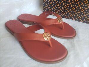NEW-Tory-Burch-Benton-Thong-Flat-Calf-Leather-Logo-Sandals-Size-7-Canyon-Orange