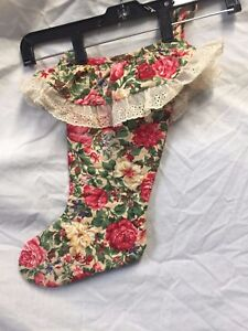VINTAGE-FLORAL-COUNTRY-Christmas-HANDMADE-Stocking-14-TALL