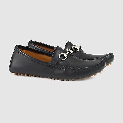 130f660e9 Details about NIB NEW Gucci boys black blue leather suede horsebit loafers  27 28 29 30 410370