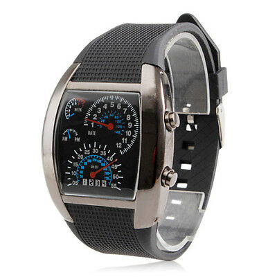Cool Blue LED Light Digital Casual Men's Mechanical Analog Wrist Sports Watch
