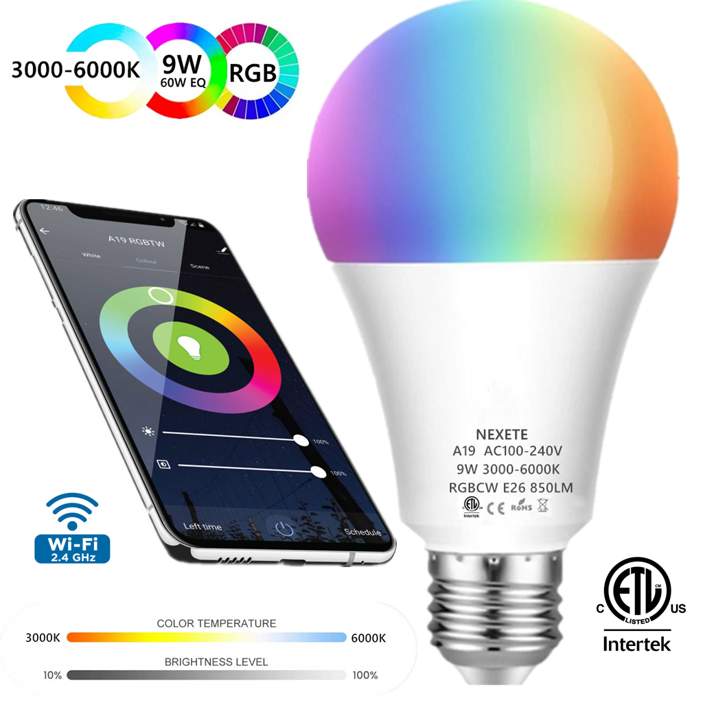 APP Remote Control Smart WiFi LED Light Bulb RGB+CW A19 60W Equivalent 9W 850Lm,Multi-Color 2 Pack Work with Alexa Google Assistant /& IFTTT Dimmable and Tunable White 3000-6000K No Hub Required