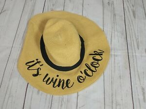 f2b748d1e6a Details about CC Women's Its wine oclock Paper Weaved Beach Embroidered  Floppy Brim CC Sun Hat