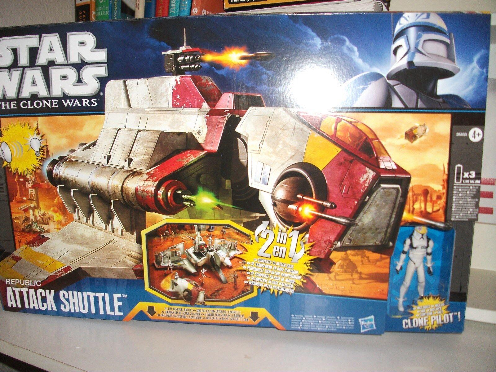 en linea Estrella Estrella Estrella Wars Clone Wars Republic ataque Shuttle + Clon Piloto Nuevo En Caja Hasbro  servicio honesto