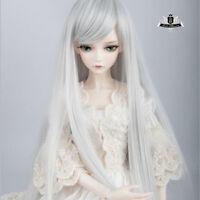"7-8"" hair 1/4 BJD Wig Mini Dollfie MSD Long Silver gray AOD DOD DK DZ LUTS #132"