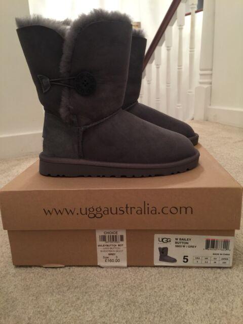 BNWT UGG Australia Short Grey Bailey Button Boots (Size UK 3.5) RRP £160