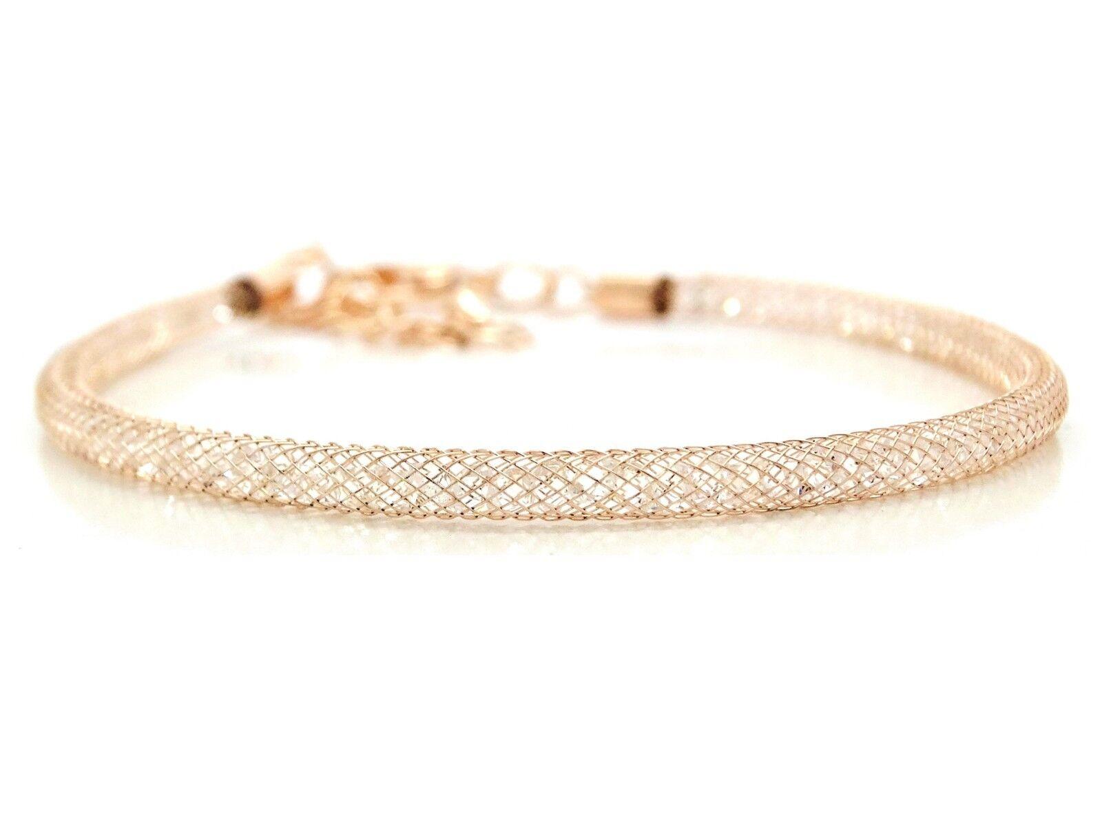 Authentic yellow gold plated mesh bracelet sparkling white gems inside gift bag
