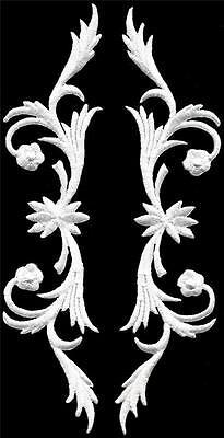 White trim fringe leaves glitter boho sew applique iron-on patches pair S-1120