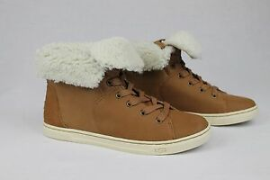 4db638b27db UGG AUSTRALIA CROFT CHESTNUT LEATHER SHEEPSKIN CASUAL ANKLE SNEAKER ...