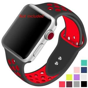 Perforated-Silicone-Watch-Strap-Band-For-Apple-iWatch-1-2-3-4-5-38-40-42-44-mm