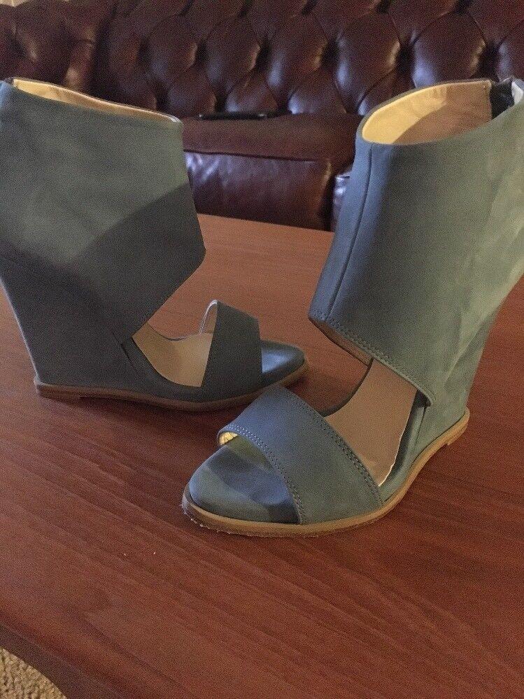 6 Taboo Blau Suede Wedge Heels Schuhes Größe 6/36 Made In  Sandale