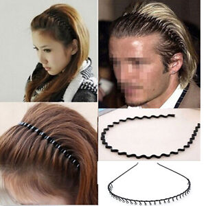 Men Women Zig Zag Alice Hair Band Metal Wave Toothed Casual Sports ... 9bba7499c39