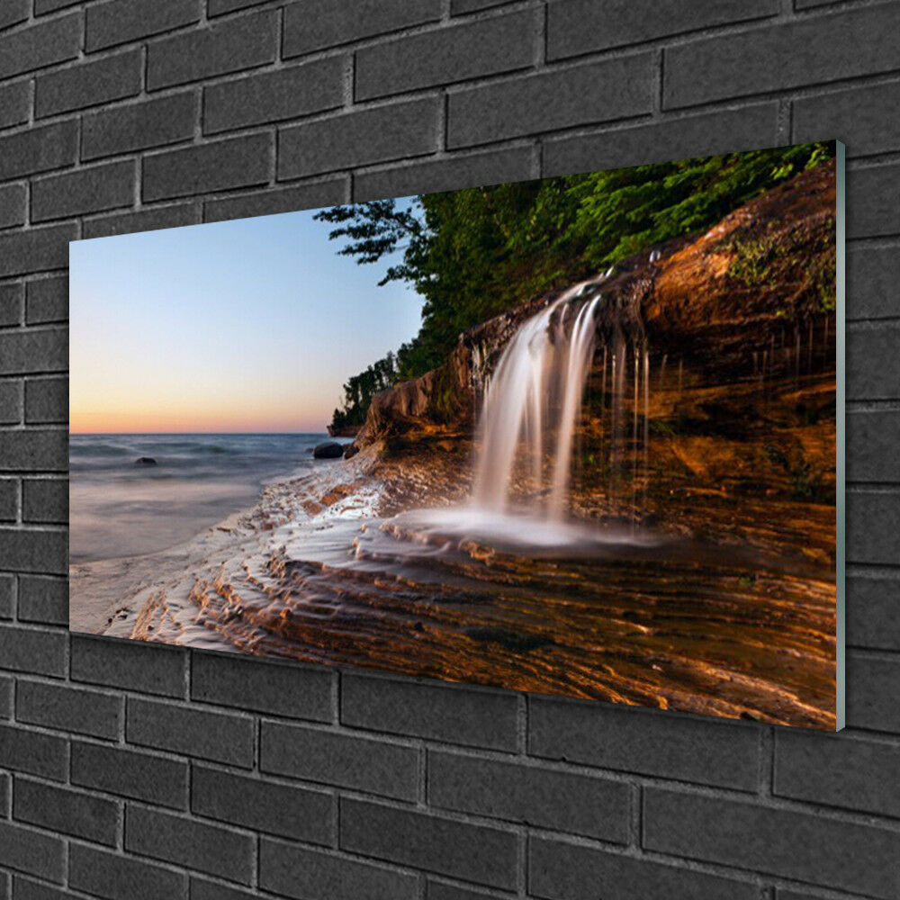 Print on Glass Wall art 100x50 Picture Image Waterfall Landscape