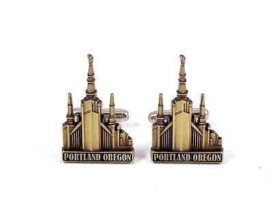 Portland City USA Flag Cufflinks Engraved Box