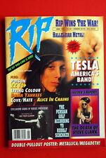 TESLA COVER POSTER:METALLICA/MEGADETH 1991 G'N'R STEVE CLARK RATT RIP MAGAZINE