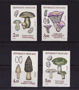 timbre-France-non-dentelee-serie-4-champignons-1987-num-2488-2491