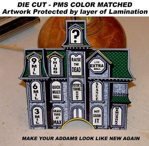 Addams Family Pinball Machine Manoir Insert Autocollant Revêtement