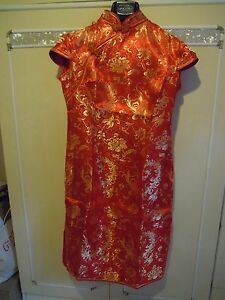 Cheongsam/qipao (abito Rosso E Dorato Tradizionale Cinese) Qualité Et Quantité AssuréE
