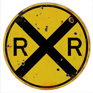 12-Round-Aged-Looking-RR-Railroad-Crossing-Sign