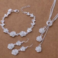 Necklace Bracelet Earring Floral Jewellery Set Ladies 925 Sterling Silver Luxury