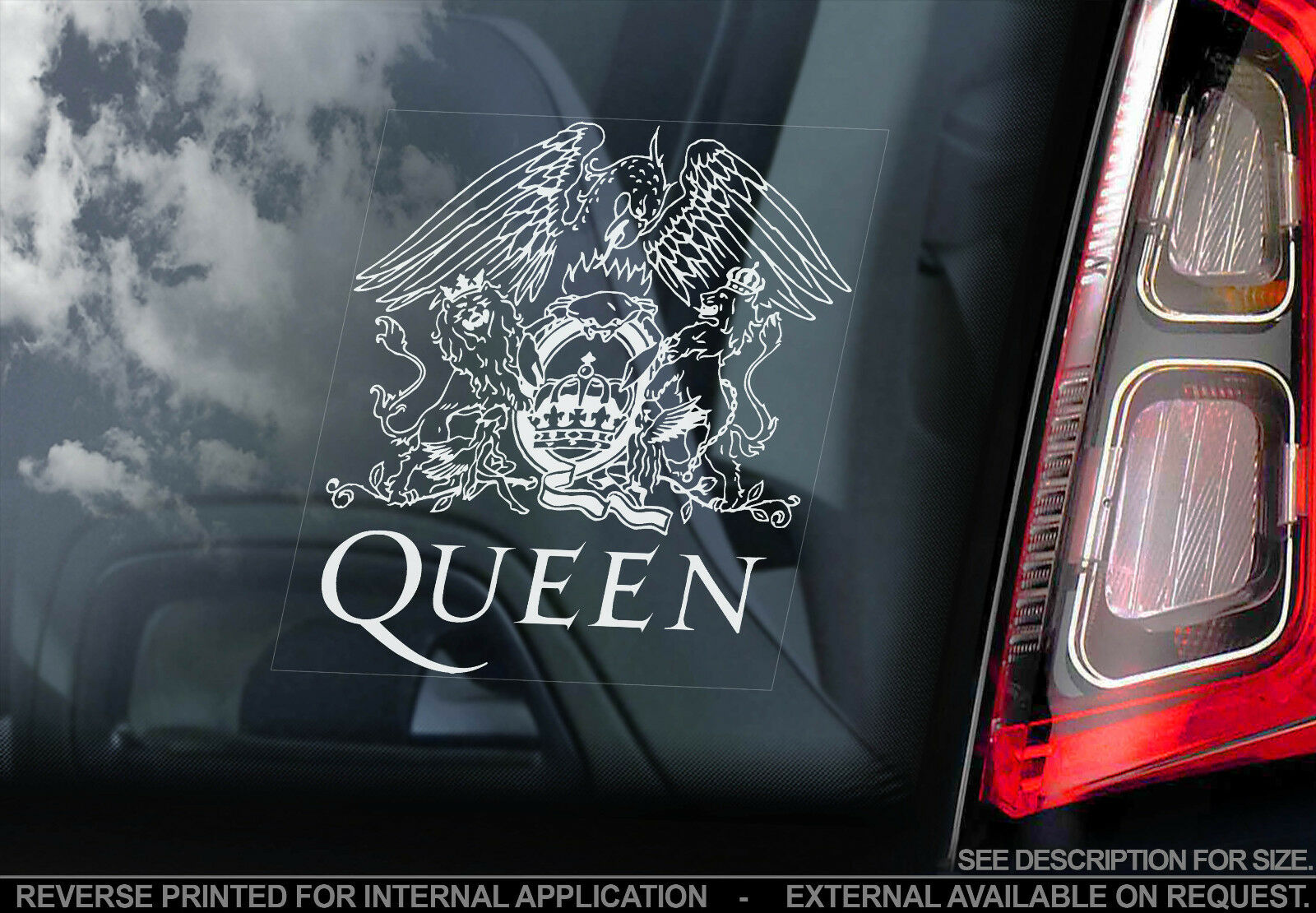 Details About Queen Car Window Sticker Freddie Mercury Rock Band Music Decal Sign V01