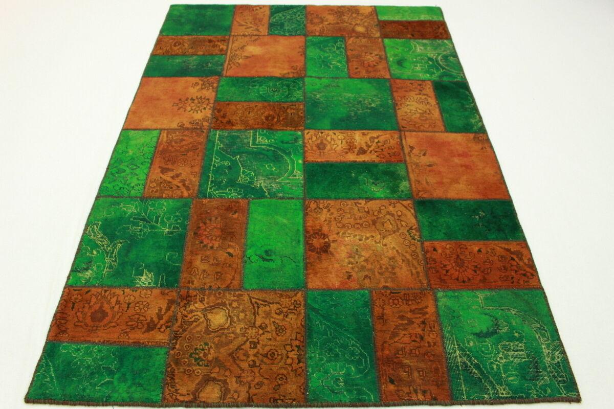 Patchwork Patchwork Patchwork Perser Teppich Vintage grün Orange 240x160 Used Look handgeknüpft 2003 ebb5cc