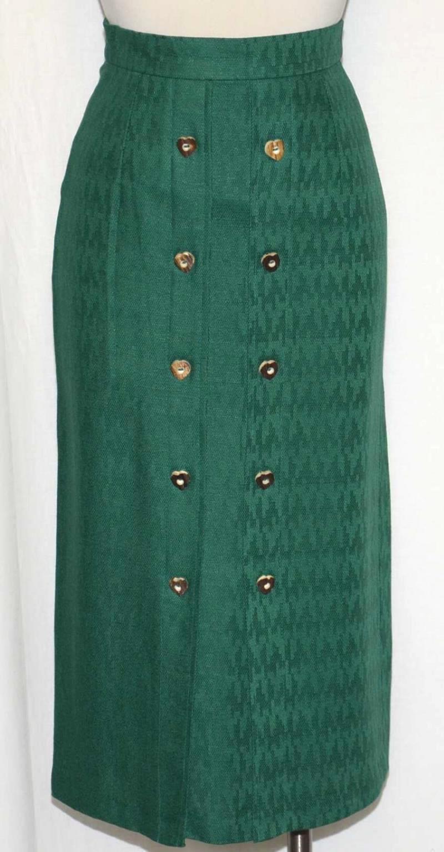 Lápiz Falda Larga Recta De  Lino verde Caza Equitación Mujeres Austria w25  4 XS  barato y de moda
