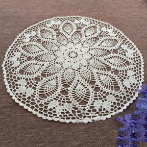 Image Is Loading White Vintage Hand Crochet Lace Doily Round Table