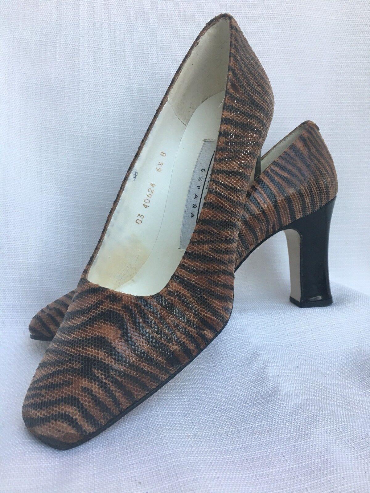shoes VALERIE STEVENS 3  Square Toe Pump BROWN BLACK TIGER PRINT Angel 6.5 B M