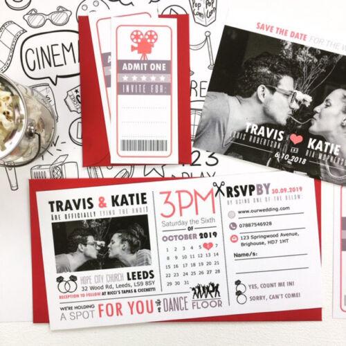 Wedding Invitations Personalised Photo Movie Cinema Invite with Picture