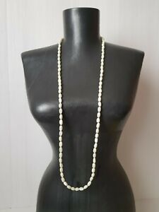 Vintage-Mother-of-Pearl-necklace-white-Oval-beads-Long