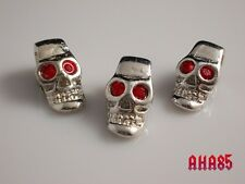 3 Cool Skull Beads, Large Metal Beads With Red Crystal 4mm Hole, Jewelery Making