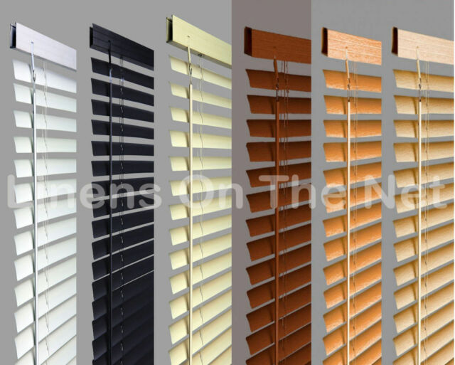 PVC Venetian Blinds Window Blind In Black Cream White Or Wooden Grain Effect
