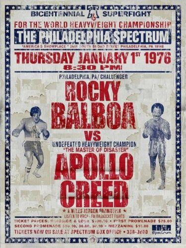 Rocky Apollo Boxeo Película Fit Caja de Aluminio de Metal Retro Gimnasio Pub Bar Vintage sign