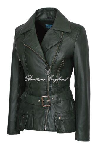 Ladies Belt Style 2812 Biker Waist Fashion Jacket 100 Green Leather q4T7qA
