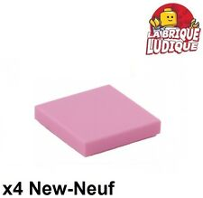 Lego - 4x Tile plaque lisse 2 x 2 with Groove rose/bright pink 3068b NEUF