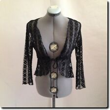 Papaya Black Open Weave Tie Jacket Blazer Outerwear Junior L